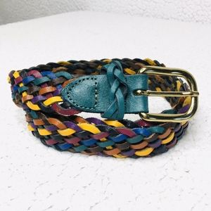 Argentina Capezia Leather Colorful Woven Boho Belt